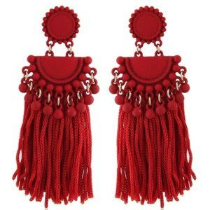 Red Boho Gypsy Tassel Long Dangle Earrings